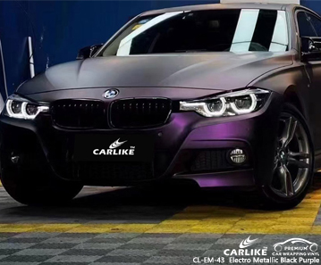 CL-EM-43 electro metallic black purple vinyl vehicle wrap factory for BMW