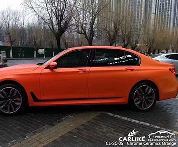CL-SC-05 chrome ceramics orange vinyl auto wrap cost for BMW