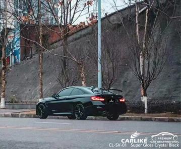 CL-SV-01 مصنع غلاف السيارة من الفينيل الأسود الكريستالي شديد اللمعان لسيارات BMW