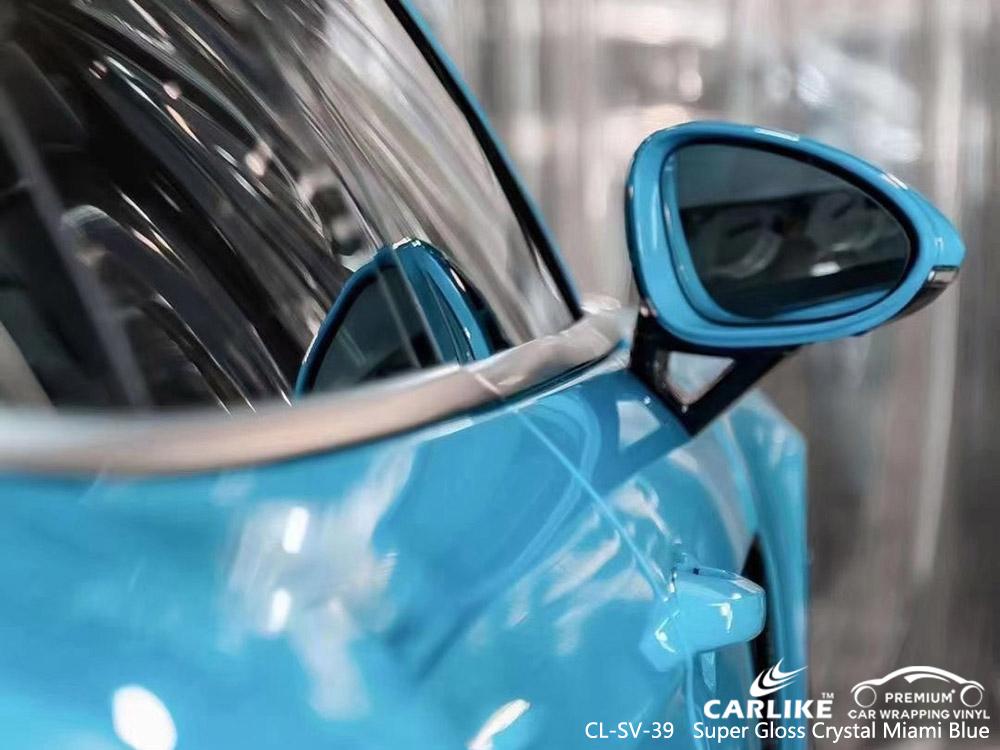 CL-SV-39 super gloss crystal miami blue vinyl auto wrap manufacturer for PORSCHE