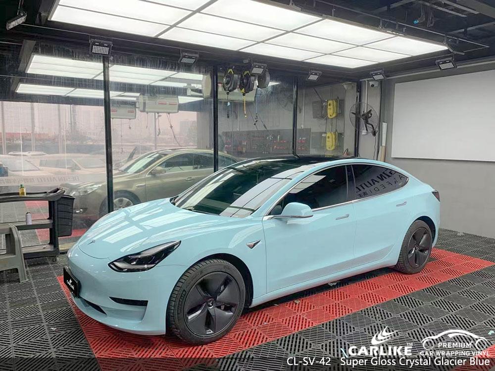 CL-SV-42 super gloss crystal glacier blue vinyl car wrap manufacturer for TESLA