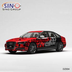 DZ004 Pattern Красные и черные буквы Высокоточная печать Индивидуальная виниловая упаковка для автомобилей