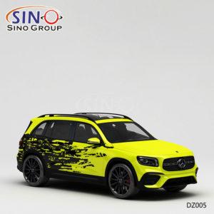 DZ005 Узор Желто-черная Живопись Высокоточная печать Индивидуальные виниловые пленки для автомобилей